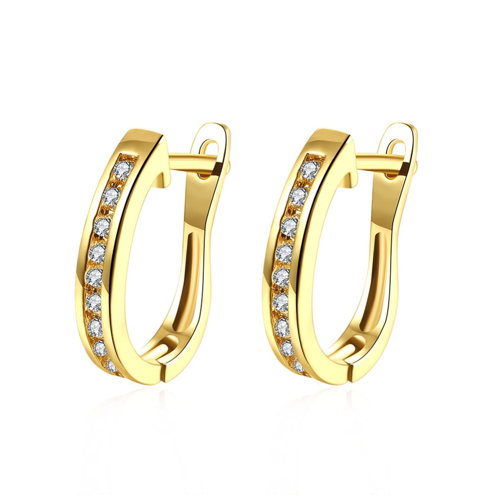 U Shape Stylish Earings For Women Gold Colour Clear Cz Engagement Hoop  Earrings D'oreille