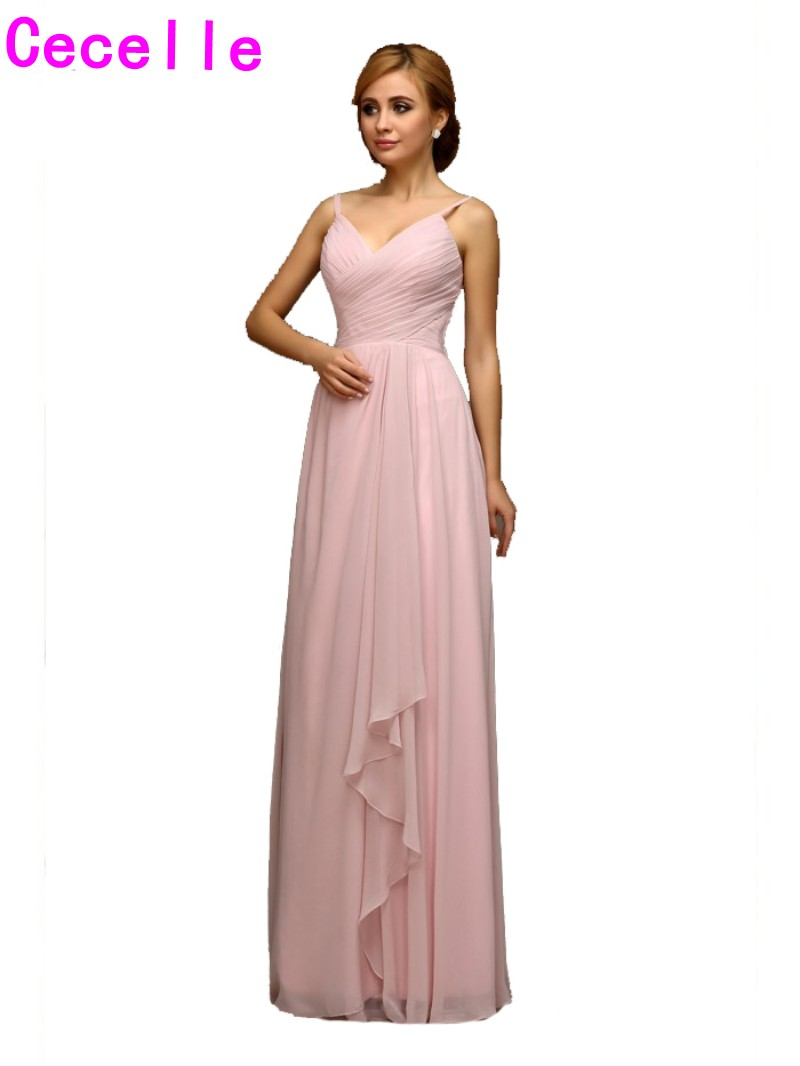 2017 Real Blushing Pink Long Beach Bridesmaids Dresses With Straps Pleats Chiffon Floor Length Formal Wedding Party Gowns