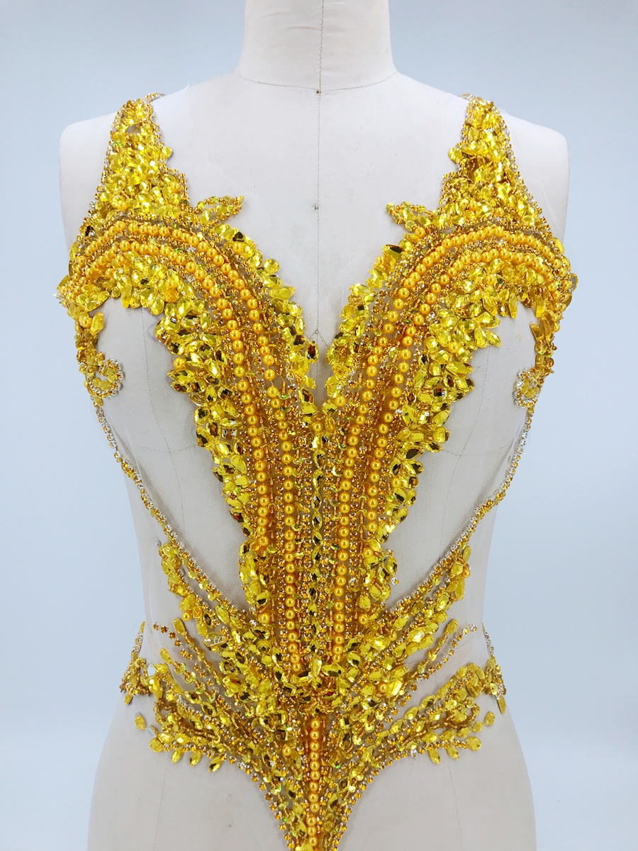 handmade golden sew on rhinestones applique on mesh crystals trim patches 56 44cm for dress DIY