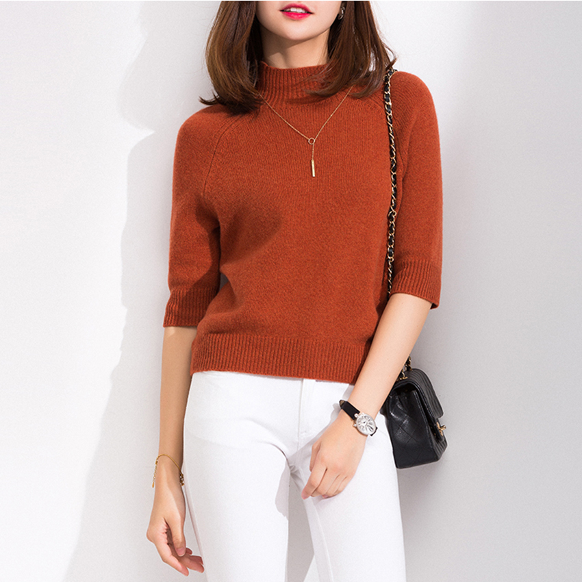 Hot Sale 4Colors Women Sweaters 100% Cashmere And Wool Knitting Soft Pullovers Half-Sleeve New Arrival Lady Jumpers Clothes Tops