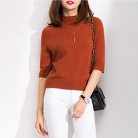 Hot Sale 4Colors Women Sweaters 100% Cashmere and Wool Knitting Soft Pullovers Half Sleeve New Arrival Lady Jumpers Clothes Tops