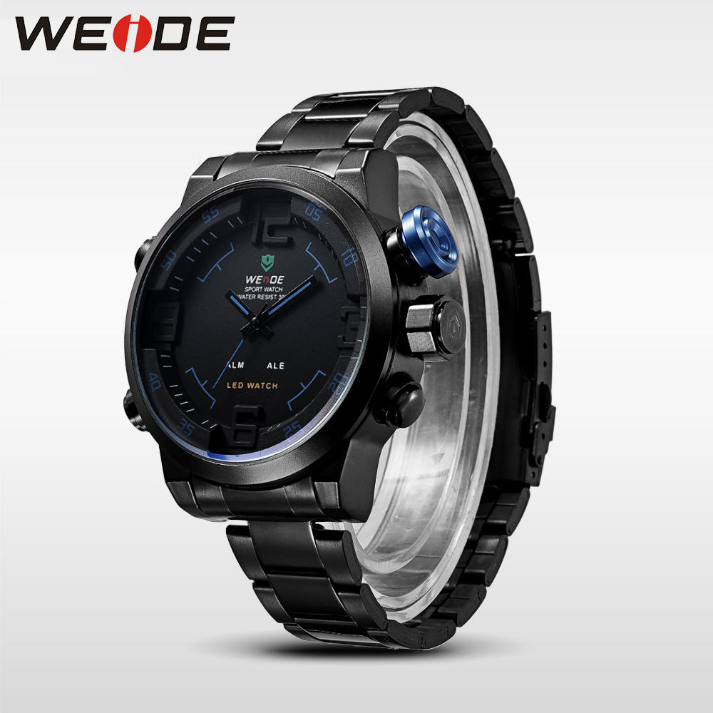 WEIDE Analog Digital Wrist Watch Stopwatch Alarm Date Quartz Military Black Stainless Steel Strap Relogio Masculino Men Clock