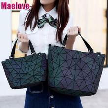 Maelove Luminous bag Women Geometry Diamond Tote Quilted Shoulder Bags Laser Plain Folding Handbags Hologram Free Shipping
