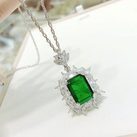 Luxury Royal S925 Sterling Silver Valentine's Day Gift Retro Emerald Pendant Necklace Wedding Fashion Bloggers Fine Accessories