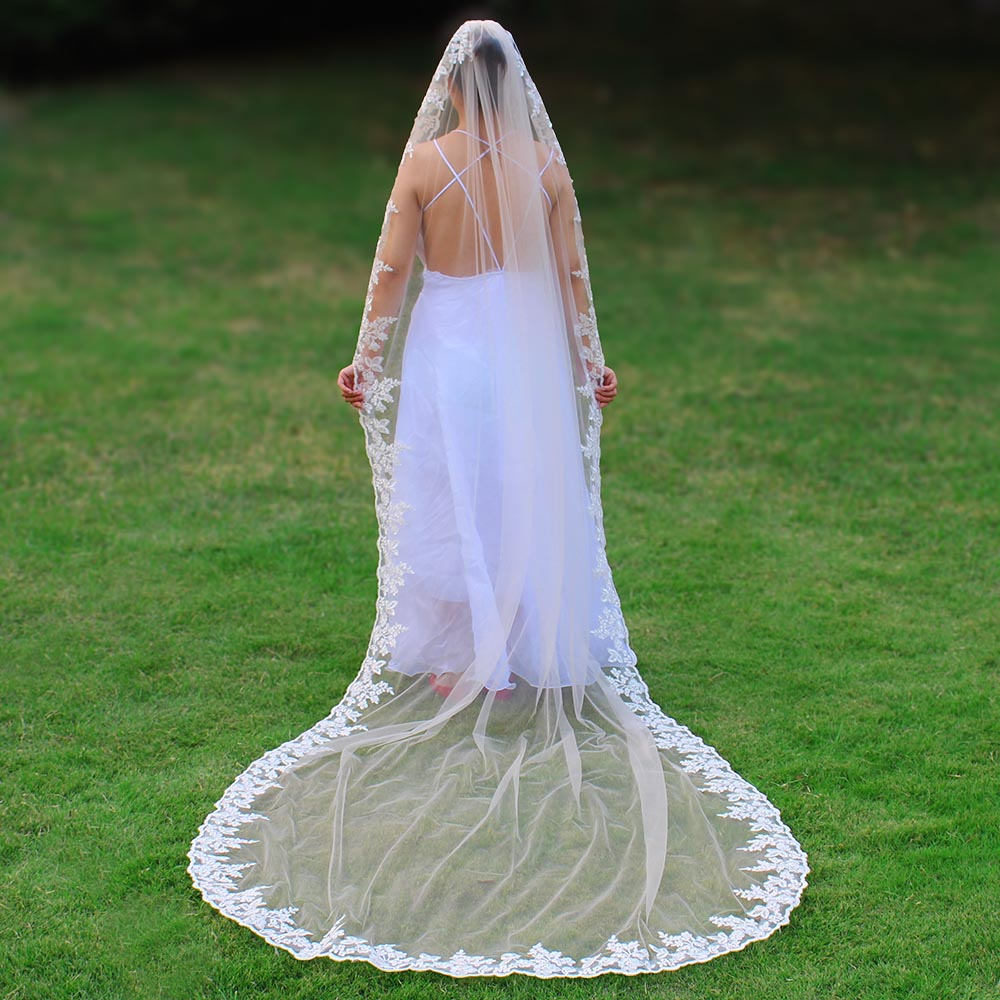 Wedding-Veil Champagne Voile Comb Mariage Lace-Edge Long-Light One-Layer New-Arrival