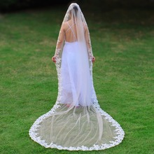 New Arrival Long Light Champagne Wedding Veil with Comb Lace Edge One Layer 3 M Bridal Voile Mariage