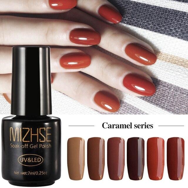 MIZHSE Caramel Series Semi Permanent Nail Polish Gellak UV Permanent ...