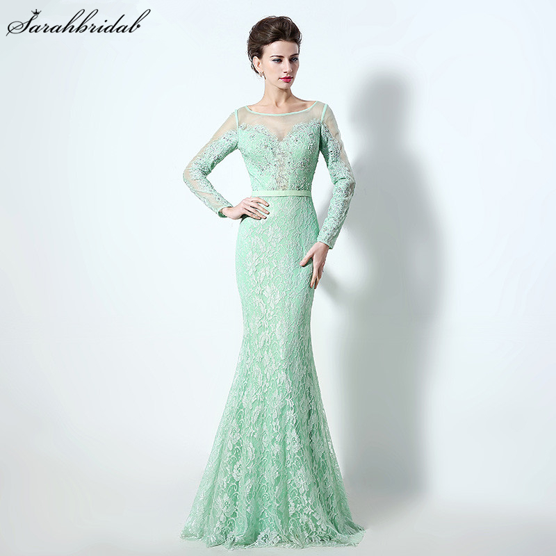 New Arrival Elegant Aqua Floor Length   Evening     Dresses   Lace Crystal Beaded Mermaid Formal   Evening   Gown robe de soiree LSX072