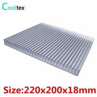 Yüksek güç 220x200x18mm radyatör Alüminyum soğutucu isı emici için LED Elektronik güç amplifikatörü entegre devre soğutma