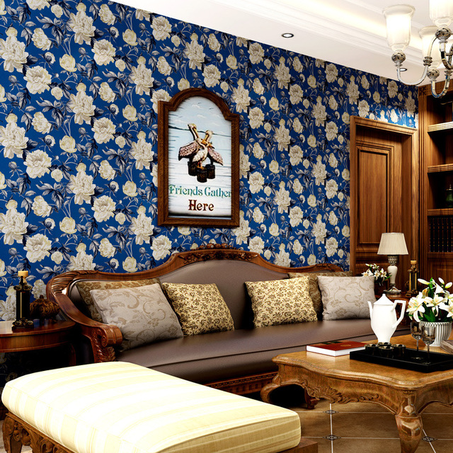 beibehang American rural pastoral wallpaper wallpaper green paper wallpaper Mediterranean blue living room bedroom sofa backdrop