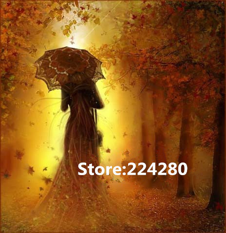 Needlework,for embroidery,DIY Tree under the umbrella of people Cross stitch kits,Art Pattern counted Cross Stitching decor