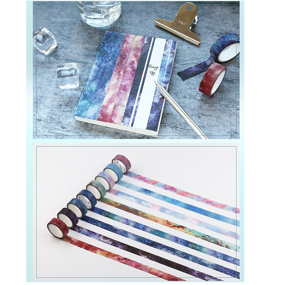 8 Pcs Starry Sky Washi Tape Set Galaxy Stars Masking Tapes Decoration Stickers Scrapbooking Album Frame Diary Stationery A6013