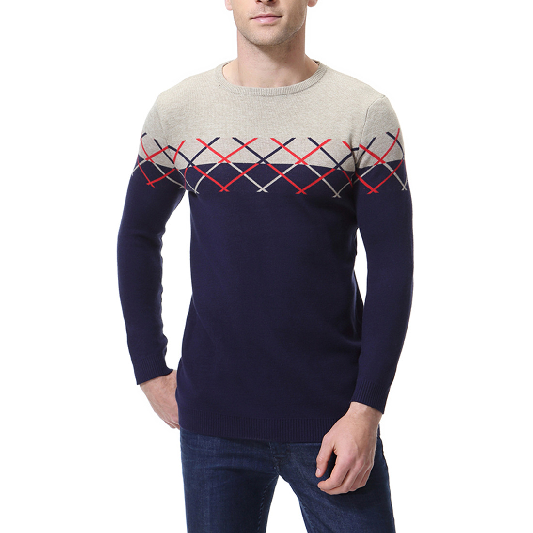 2018 Men's Plaid Color Matching Knit Sweater Fashion Men Cotton Round Neck Bottoming Shirt Slim Sweater For Male Autumn Winter Save 50-70%