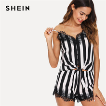 SHEIN Elegant Eyelash Lace Trim Knot Hem Cami Top And Shorts PJ Set Spaghetti Strap Black