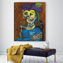 Pablo Picasso Woman Sitting Blue Dress Canvas Painting Living Room Home Decoration Modern Wall Art Oil Posters Pictures