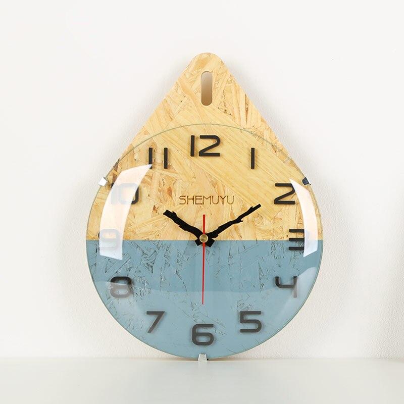 Brève goutte d'eau moulage MDF décor à la maison horloge murale Mini mode Art silencieux horloge murale