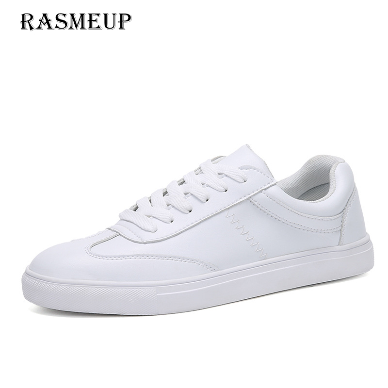 RASMEUP Genuine Leather Women's White Flat Sneakers 2018 Spring Casual Women Lace-up Platform Shoes Woman Comfortable Footwear 2018 new casual leather sneakers red black lace up comfortable footwear women sneakers shoes 6 5cm