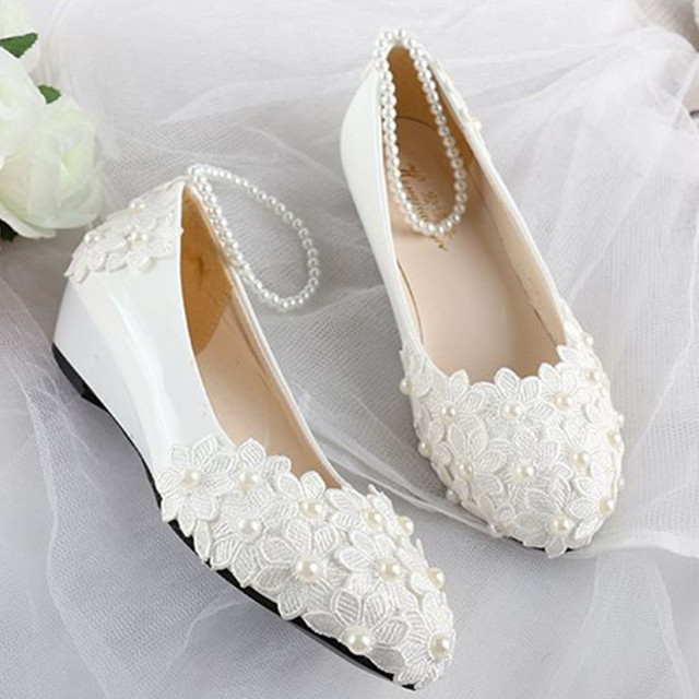 Low Wedges Heels Wedding Bridal Dress Shoes White Light Ivory R008 Lace Bridesmaid Brides