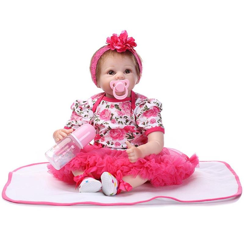 55cm Silicone Reborn Baby Doll Toys Lifelike Baby 22inch Simulation Soft Silicone Newborn Baby Doll Kids Playmate Toy Gifts npkcollection55cm soft silicone newborn baby doll with eyes closed simulation to accompany sleep toys silicone reborn baby doll