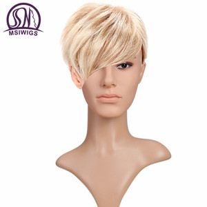 Image 5 - MSIWIGS Short Blonde Male Synthetic Wigs American European 6 Inch Straight Men Wig with Free Hair Cap Heat Resistant Toupee Hair