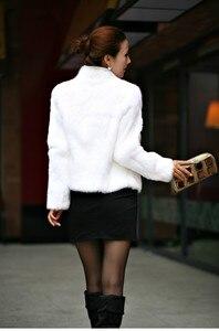 Image 4 - 2019 New Genuine Rabbit Fur Coat women full pelt rabbit fur jacket Winter Fur waistcoat customized big size Stand Collar TFP267