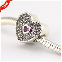 Fits Brand Charms Bracelets 925 Sterling Silver Jewelry Pink CZ Heart Silver Charm for Women Beads Jewelry Making Wholesale