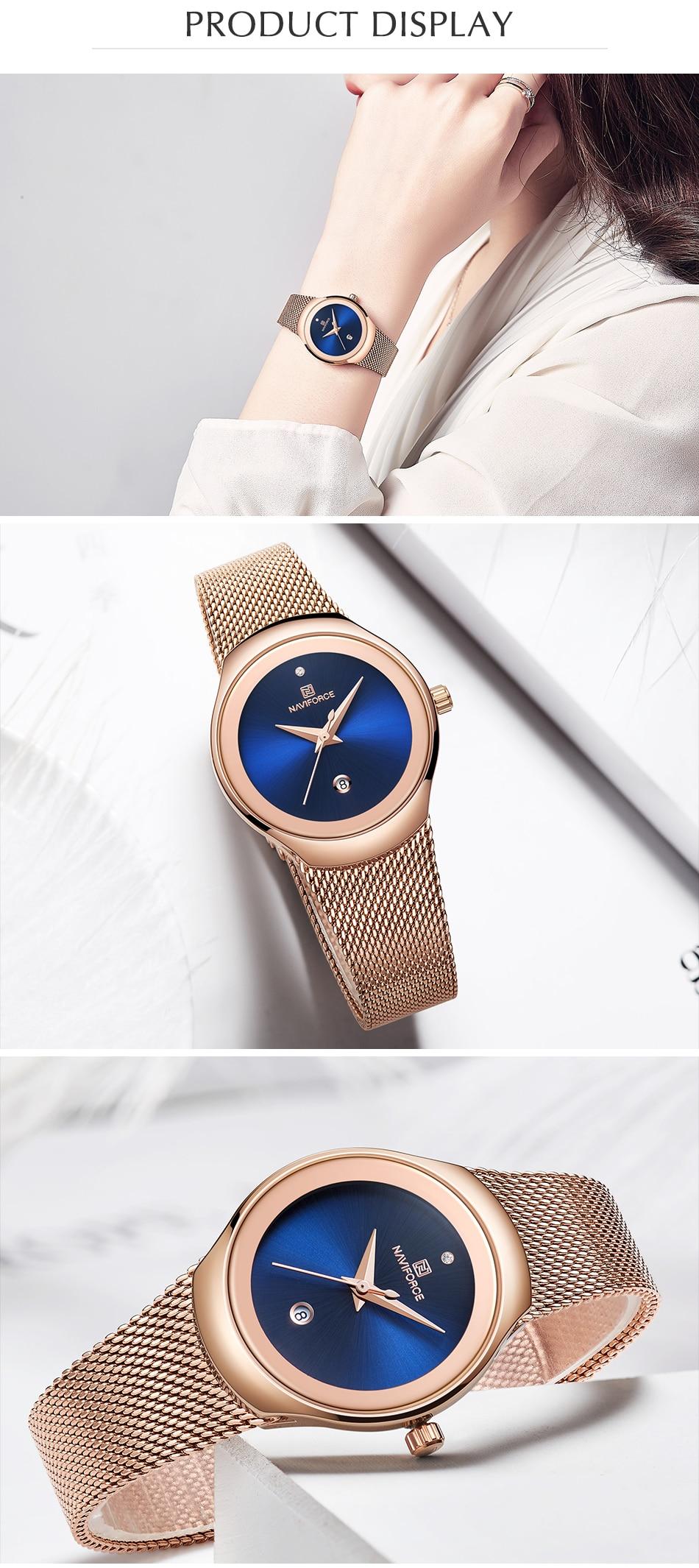 NAVIFORCE Top Luxury Brand Women Watches Female Fashion Simple Quartz Watch Ladies Classic Stainless Steel Mesh Belt Wrist Watch 9