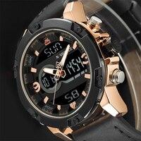 NAVIFORCE Luxury Brand Men Military Sport Watches Mens LED Analog Digital Watch Male Army Leather Quartz