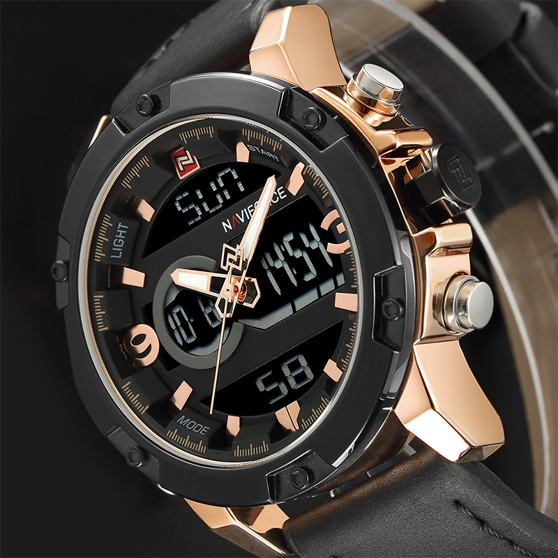 NAVIFORCE Luxury Brand Men Military Sport Watches Mens LED Analog Digital Watch Male Army Leather Quartz Clock Relogio Masculino brand amuda fashion digital watch men led full steel gold mens sports quartz watch military army male watches relogio masculino