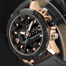 Naviforce Элитный бренд Для мужчин Военная Униформа спортивный Часы Для мужчин S светодиодный аналоговые цифровые часы мужчина армии кожа кварцевые часы Relogio Masculino