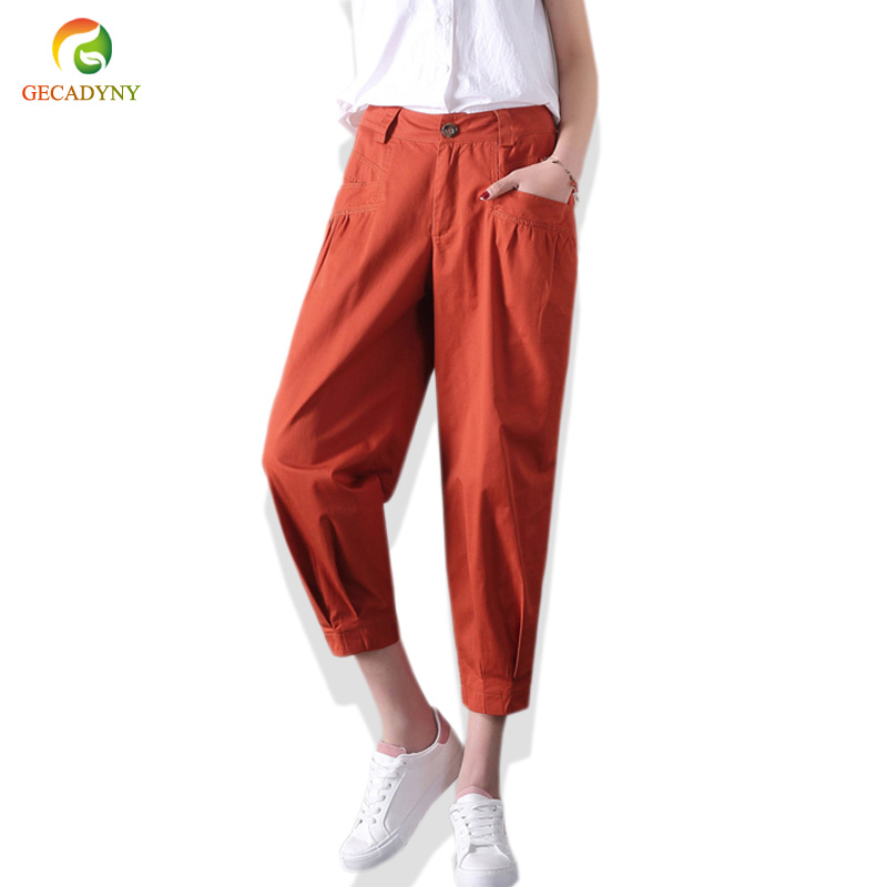 Spring Summer Women Streetwear Pants Women Cotton High Waist Loose Khaki Harem Pants Capris Cropped Radish Trousers Turnip Pants