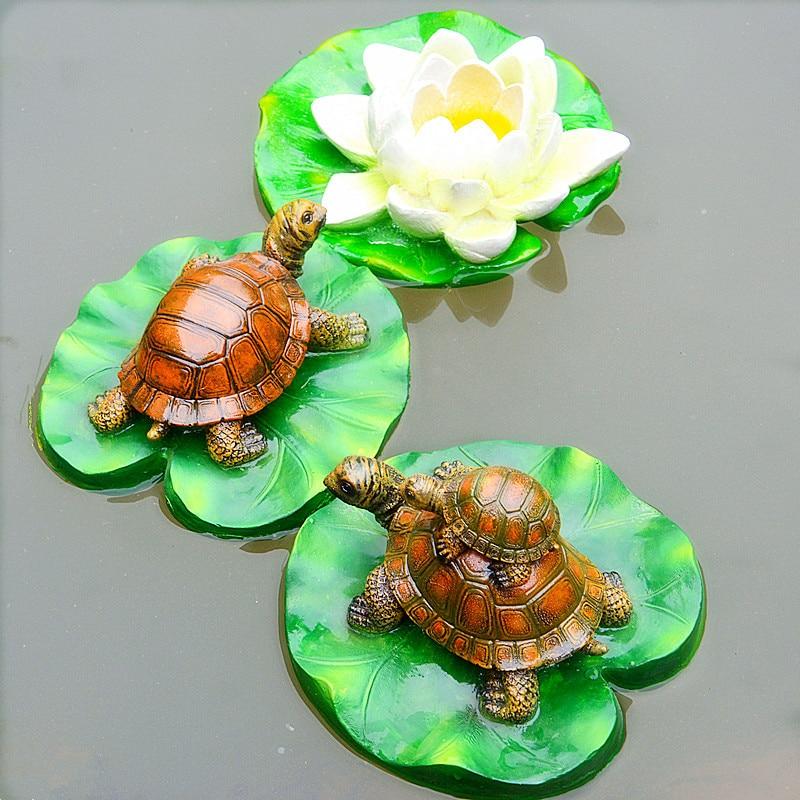 1pc Resin Floating Frogs Tortoise Statue Garden Pond Decoration Outdoor Cartoon Animal Sculpture for Garden Decor Ornament