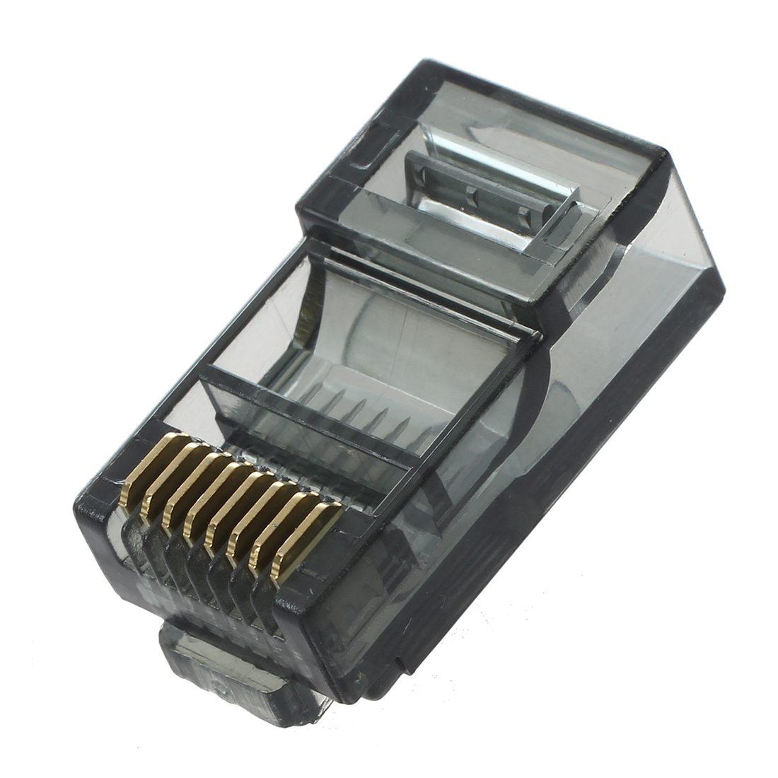30 Pcs Black Housing 8P8C Cat5 CatE Modular Network Cable Plug RJ45 Connector