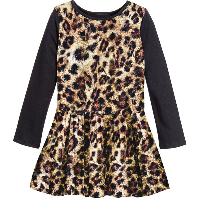 cb4e5a32de Baby girl dress Long sleeve Girls Dresses Print Children Designer Leopard  grain Kids Clothes clothing Casual