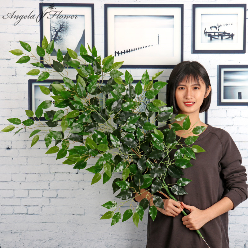 130cm simulation green plant twigs plastic leaves DIY wedding home garden Premium of plant decor fake