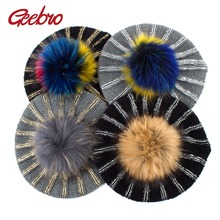 Berets-Hat Pompon Black Spring Knitted Geebro Women's Ladies Casual Acrylic with Real-Raccoon-Fur