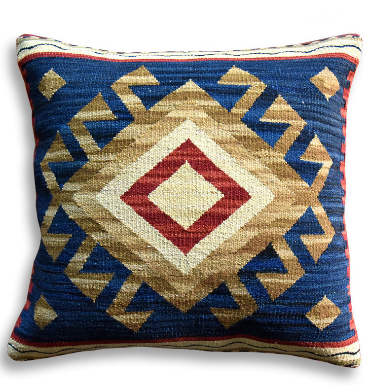 The Geometry Pattern Pure Wool Manual Embrace Pillow Case Back Cushion Continuous System Style Sofa Cushion Model House