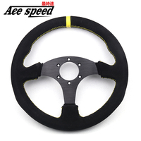 13 (330mm) For OMP Racing Steering Wheel suede leather Suture yellow line game flat Steering Wheel Come with horn button