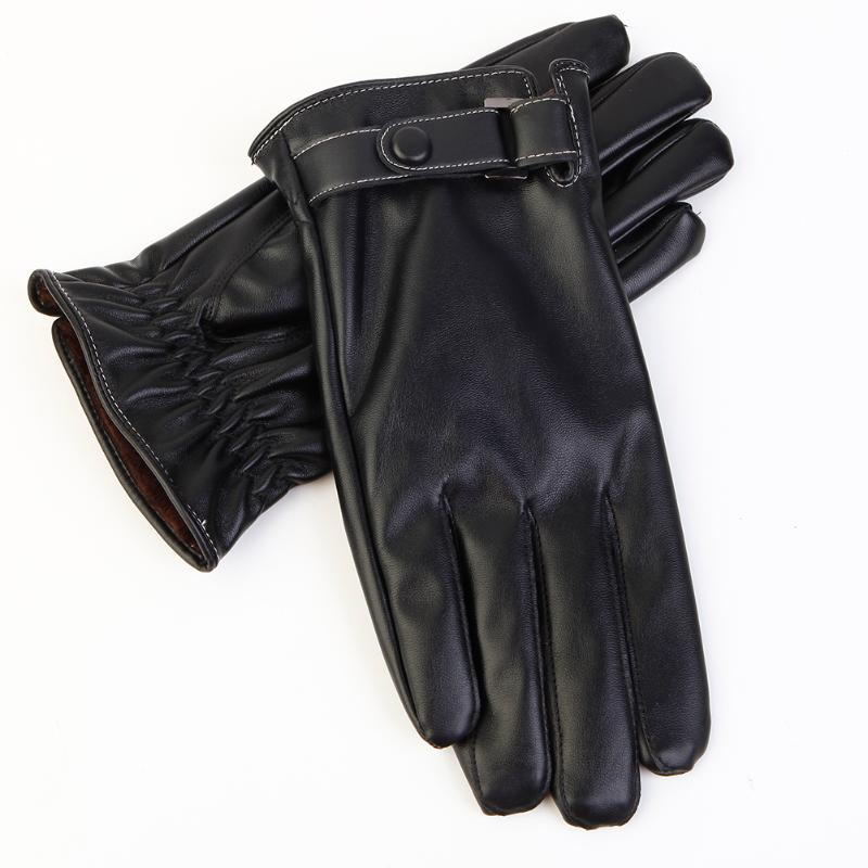 1 Pair Classic Black Winter Leather Gloves & Mittens Driving TouchScreen Gloves Windproof Guantes Unisex Anti-slip Skiing Gloves