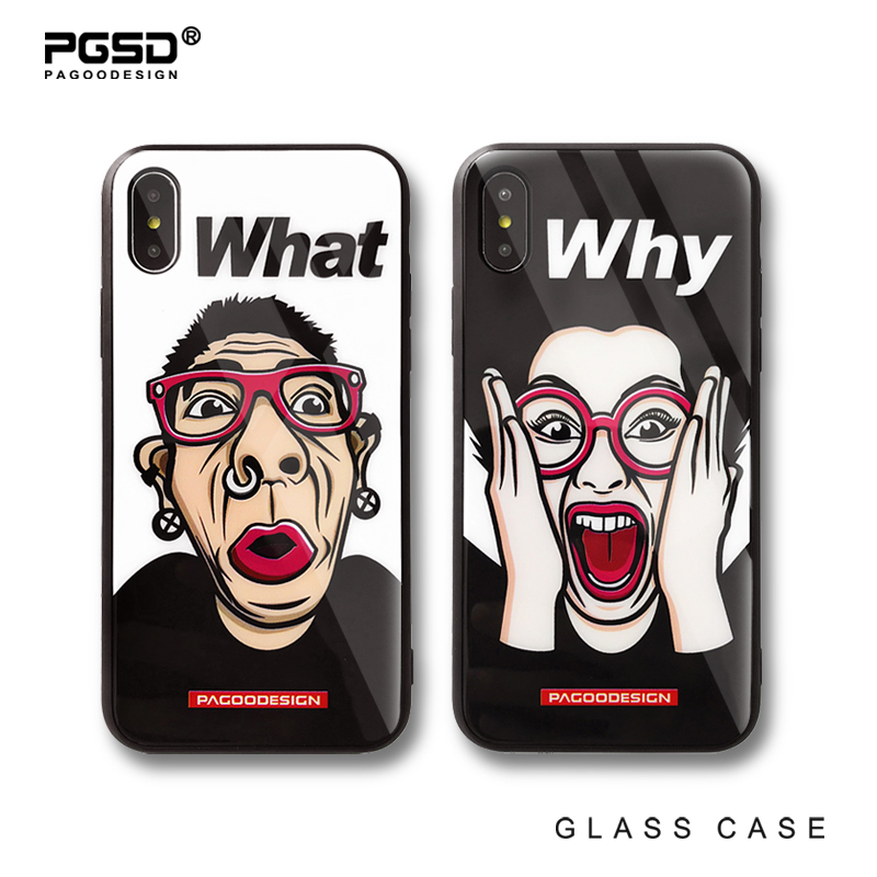 PGSD Original Personality Fashion Trend Sweethearts Toughened Glass Backside Prevent Fall Damage Scratch Case for iPhone