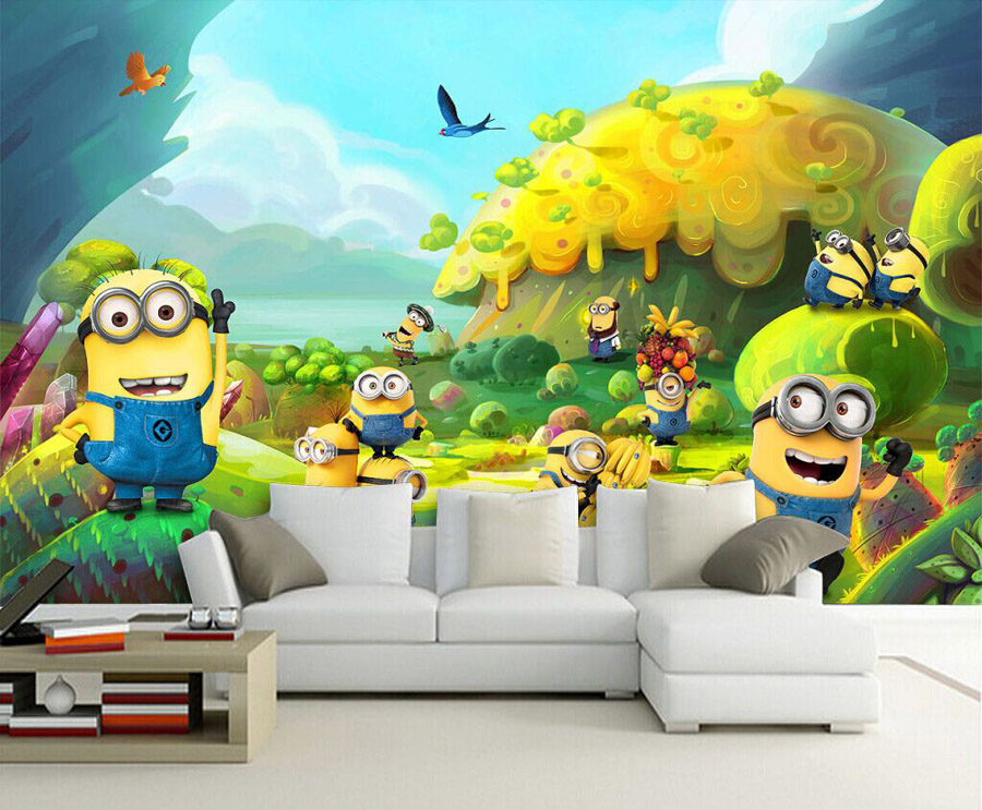 Cartoon Photo Wallpaper Minions Wallpaper Custom 3D Wall Mural Kids Bedroom  Decor Childrenu0027s Playground Despicable Me Wallpaper In Wallpapers From Home  ...