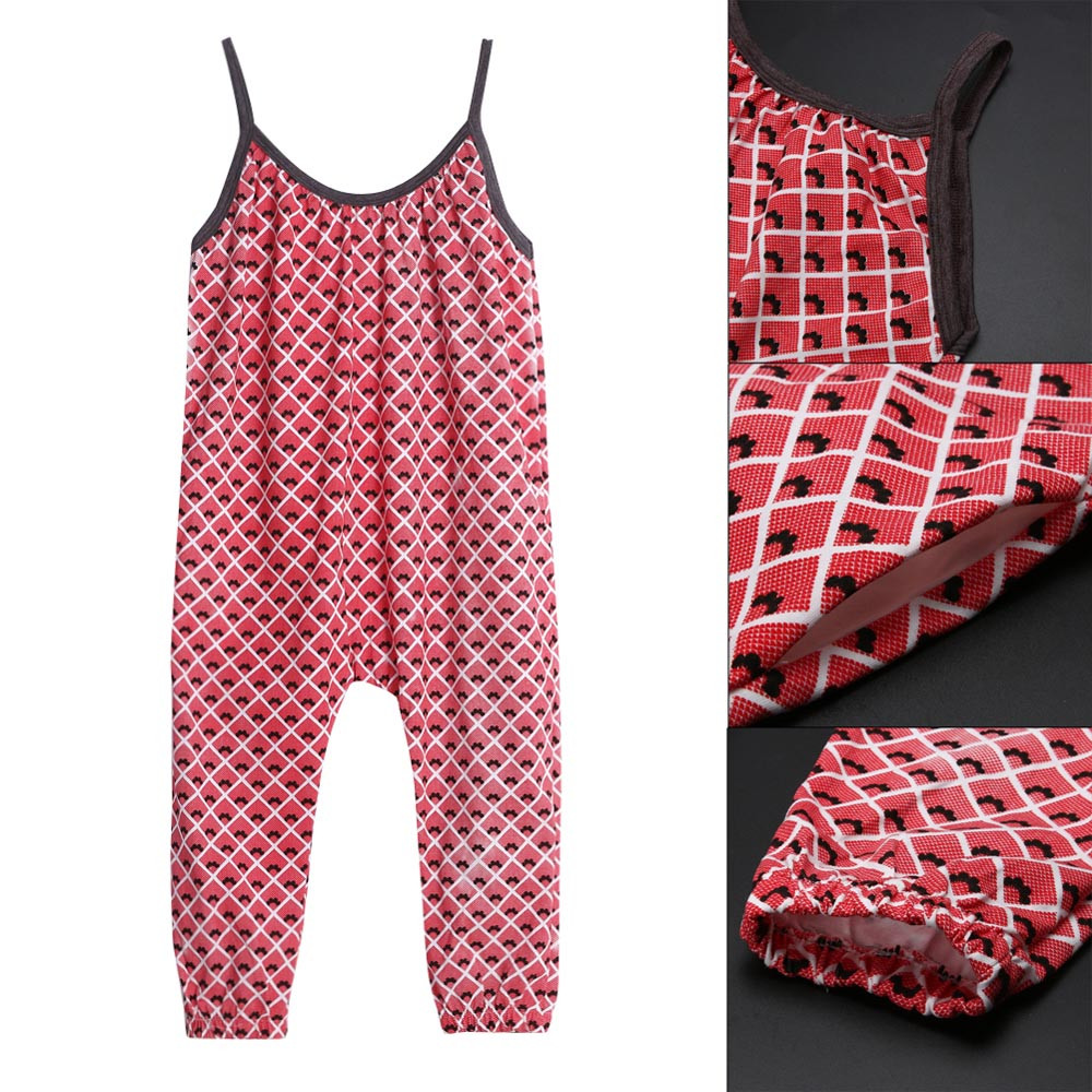 Kids Clothing Summer Baby Pants Casual Toddler Kids Girls Straps Printing Rompers Jumpsuits Baby Girls Pants Clothing