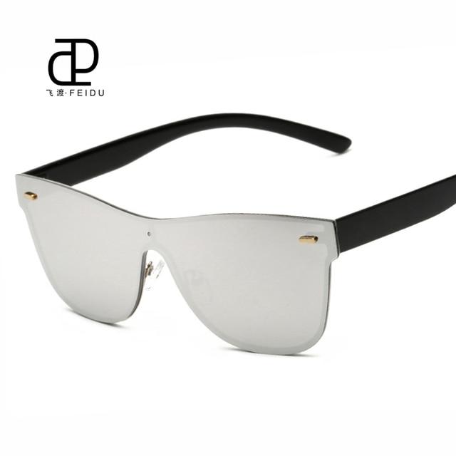 ad31ed57e843 FEIDU модные оправы Солнцезащитные очки для женщин Для женщин Брендовая  дизайнерская обувь без каблука зеркало интегрированных