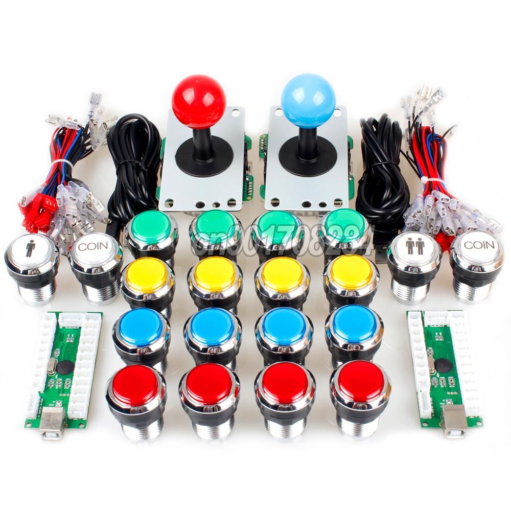 Arcade Control Panel China Sawna Joystick 19 x Chrome Push Buttons USB Encoder To Raspberry Pi