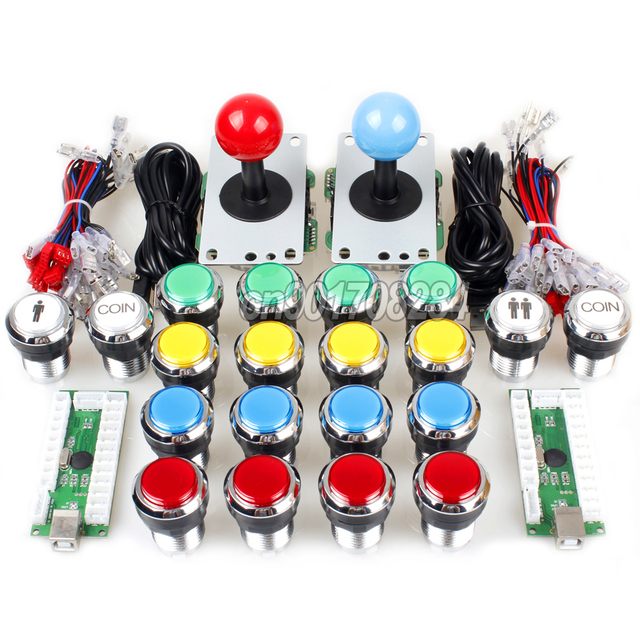 US $74 99 |Arcade Control Panel China Sawna Joystick + 19 x Chrome Push  Buttons USB Encoder To Raspberry Pi Retropie 3 Model B Project DIY-in