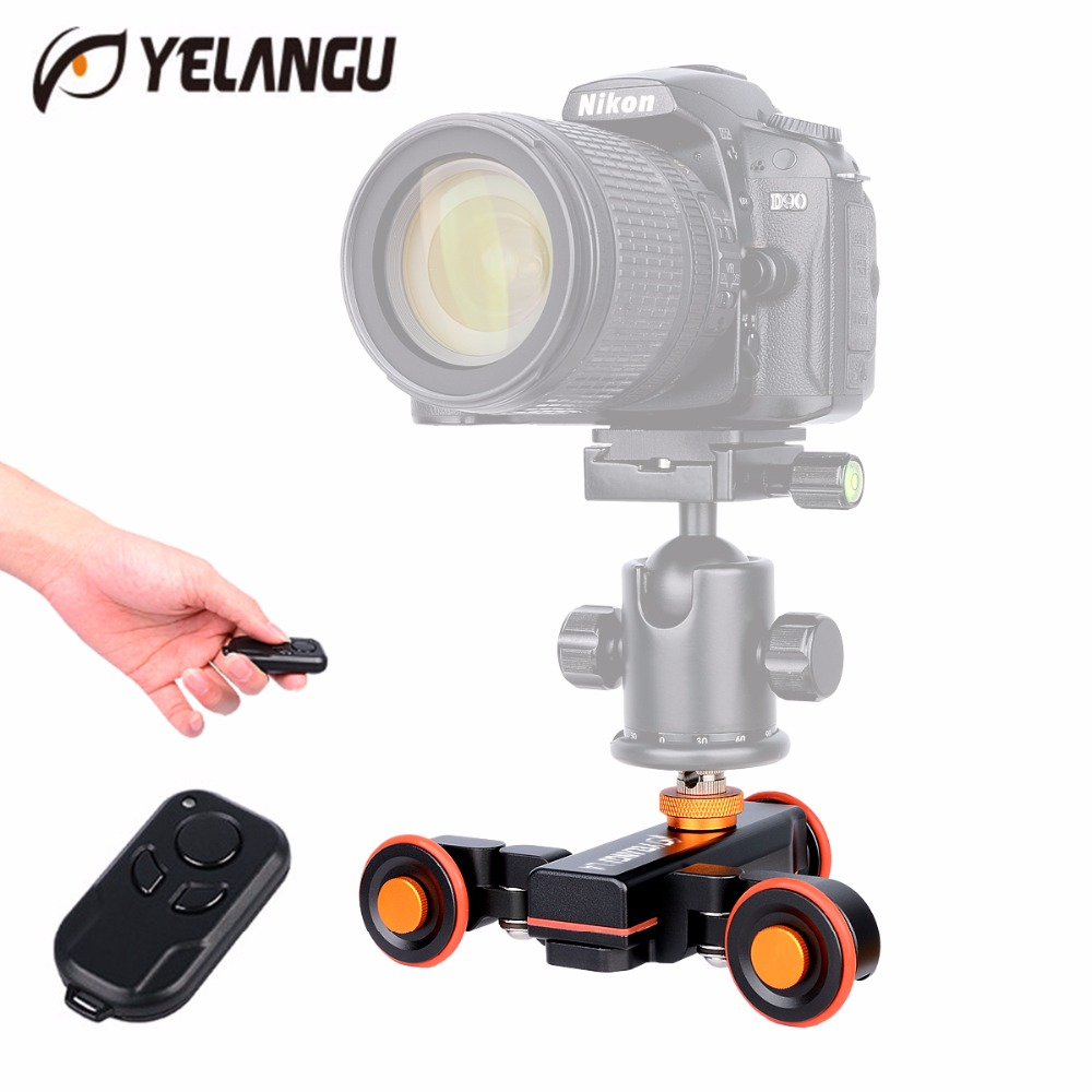 цена на Yelangu Electric Motorized Autodolly Car Wireless Remote Control Video Track Rail Slider Skater Dolly for Canon Nikon SLR Mobile
