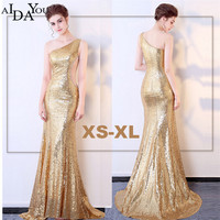 luxury Evening long golden Dresses elegant Women floor length Slim sequined vestido Formal Special one shoulder Dress ouc994