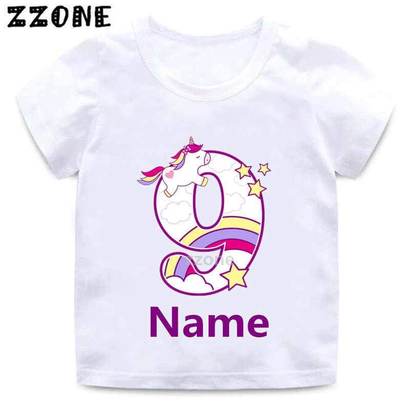 Boys Girls Happy Birthday Unicorn Number 1 9 Bow Print T Shirt Baby Cartoon