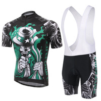 Cycling Set Men Summer Short Sleeve And Bib Shotrs Blace Necromancer Pattern Quick Dry Bicycle Set