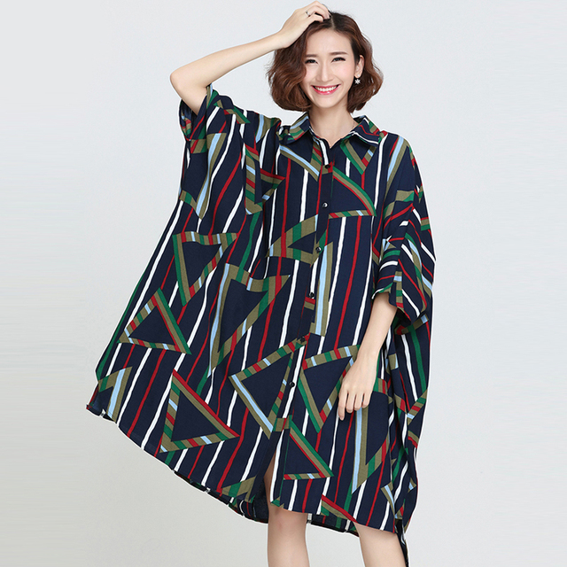 cc7b5d4ea01 Plus Size Women Blouse Summer Striped Print Chiffon Female Large Size Blouse  Casual Fashion Batwing Sleeve